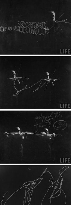 Violinist Jascha Heifetz playing, with light attached to his bow. (photo by Gjon Mili, 1952)