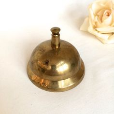 Solid Brass Call bell Brass Desk bell ringer by EllasAtticVintage