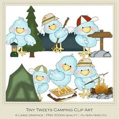 Tiny Tweets Camping Clipart by Cheryl Seslar by marlodeedesigns, $1.35