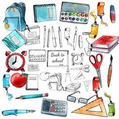 - 20 PNG/JPG Schulsachen -1EPS 10 doodle ikons vector set #Bilder für #Arbeitsblätter