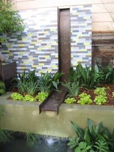 Today even the smallest of gardens or yard can enjoy the sound of running water and the delight of sunlight sparkling off the rill. This contemporary water feature provides wonderful movement of water along a vertical and horizontal rill before falling into a formal pond below.