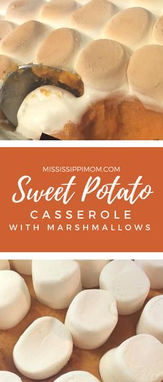 Easy Sweet Potato Casserole with Marshmallows Recipe. How to make Sweet Potato Casserole for Thanksgiving Sweet Potato Casserole Recipe With Marshmallows, Baked Sweet Potato Casserole, Loaded Sweet Potato, Sweet Potato Pecan, Recipes With Marshmallows, Sweet Potato Recipes, Canning Sweet Potatoes, Slow Cooker Sweet Potatoes, Holiday Side Dishes