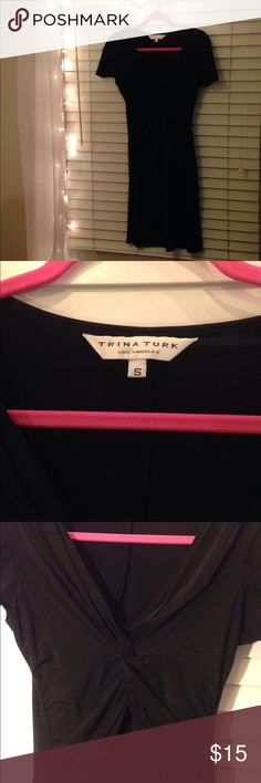 Small, Trina Turk, little black dress. Twisted front, flattering little black dress by Trina Turk in small Trina Turk Dresses Midi