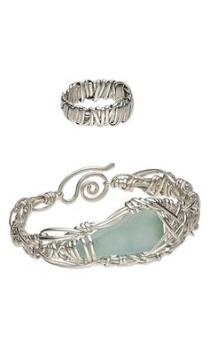 Bracelet and Ring Set with Sea Glass Embellishment and Wirework by Carolyn Roche. Bronze Medal Winner, Fire Mountain Gems and Beads' Contest 2011 featuring Metal Clay, Metal Beads, Wirework or Chain.