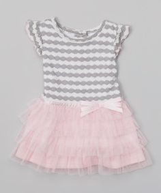Another great find on #zulily! Youngland Gray & Pink Ruffle Dress - Infant by Youngland #zulilyfinds
