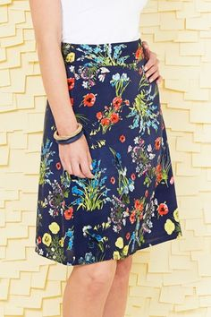 handpicked by birds Printed A-line Skirt - Womens Knee Length Skirts - Birdsnest Online Fashion
