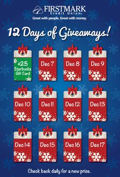It is Day One of the 12 Days of Giveaways Facebook contest! Today's prize is a $25 Starbucks gift card!  Enter to Win: http://woobox.com/ohp8ja
