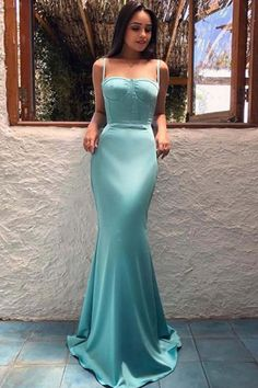 Sale Beautiful Evening Dresses Mermaid Arabic Style Mermaid Evening Dresses Trumpet Spaghetti Straps Long Satin Party Celebrity Gowns Prom Dress From Prom Dress Blue Evening Dresses, Mermaid Evening Dresses, Prom Dresses Blue, Cheap Prom Dresses, Sexy Dresses, Formal Dresses, Dress Prom, Long Dresses, Fashion Dresses