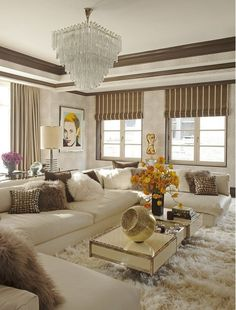 Beige Living Room with Gorgeous Chandelier
