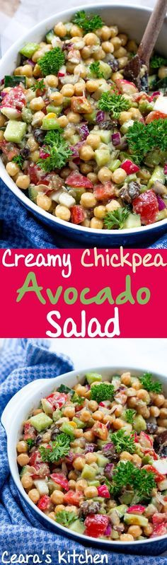 Creamy Chickpea Avocado Salad makes the perfect complete protein + veggie packed lunch or side! One of my favorite Summer salads. #VEGAN #GLUTENFREE #OILFREE #HEALTHY #BBQ