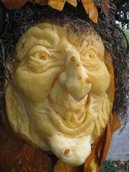 Carved Pumpkin Witch face by Pam Leno