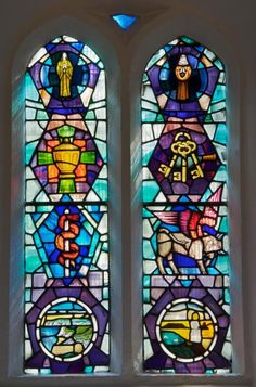 A stained-glass window in the Church of St Teilo, Bishopston, Swansea, Wales, designed by John Edwards and made by Glantawe Studios. Stained Glass Church, Stained Glass Art, Stained Glass Windows, Mosaic Glass, Saint Martha, Swansea Wales, John Edwards, Church Windows, Mary Magdalene