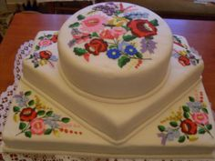 Hungarian folk motifs from Kalocsa on a wedding cake.  Note that different parts of Hungary have different colors and designs.