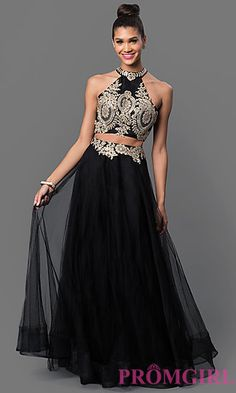Lace Embellished Two Piece Long Dress at PromGirl.com