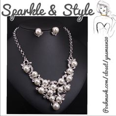 ✨Stunning set✨ Beautiful quality, Pearl and silver toned, necklace and earrings set. Great detail! Jewelry