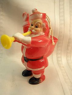 Rosen Rosbro 1950's Plastic Santa Claus Blowing A Horn Candy Container | eBay