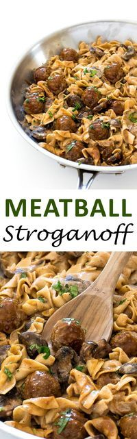 One Pan Meatball Stroganoff. A quick and delicious dinner that is ready in less than 30 minutes! | chefsavvy.com #recipe #meatball #stroganoff #beef #noodles