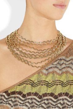 Rosantica|Onde 24-karat gold-dipped necklace
