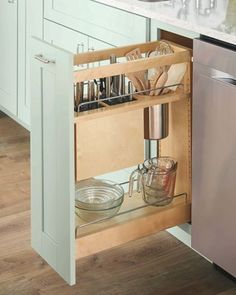 A base pull-out with knife and utensil organization helps free up counter space and is a safe place to store knives and other sharp kitchen items. The knife block features movable flex rods that adjust to hold a multitude of sized knives. Kitchen Drawer Organization, Kitchen Drawers, Kitchen Storage, Kitchen Items, Safe Storage, Prep Kitchen, Storage Cabinets, Kitchen Gadgets, Cuisines Diy