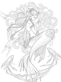 23 23 The post 23 appeared first on Woman Casual - Drawing Ideas Mermaid Coloring Pages, Cute Coloring Pages, Adult Coloring Pages, Coloring Books, Mermaid Drawings, Mermaid Tattoos, Mermaid Art, Octopus Mermaid, Drawing Sketches