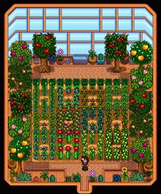 Stardew Valley is an open-ended country-life RPG with support for players. Stardew Farms, Stardew Valley Farms, Stardew Valley Greenhouse, Greenhouse Academy, Metal Walls, Metal Wall Art, Video Game Art, Video Games, Stardew Valley Layout