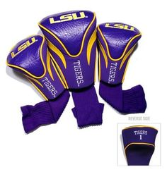 LSU Tigers Louisiana State Contour Gollf Club HeadCover - 3 Pack