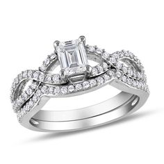 1 CT. T.W. Emerald-Cut Diamond Twist Bridal Set in 14K White Gold