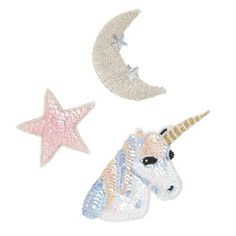 1 Star, Moon, Unicorn+ 1 Unique Stitch Fabric Glue 1 spool of thread 1 sewing needle  Limited Edition Sequin patches can be glued or sewn on to any apparel or accessory.