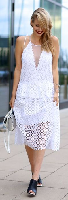 Ooh Couture White Deep V Plunge Lace Maxi Dress
