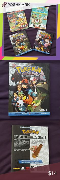 Pokemon 4 Books Set These books are in excellent condition with gentle usage. Contains 4 soft back books: Pokemon Black and White Vol 1 & 2 (comic books). Pokemon World of Sinnoh. Pokemon Evolve Handbook. Perfect gift for Pokemon fans! This lot retails for $25. Pokemon Other