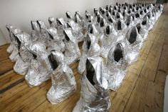 Kader Attia, Ghost, feuilles d'aluminium, dimensions variables, The Saatchi Gallery // So incredibly relevant. Contemporary Sculpture, Contemporary Art, Feuille Aluminium Art, Georges Mathieu, Aluminum Foil Art, Aluminium Foil, Saatchi Gallery, Social Art, Feminist Art