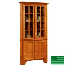 Beautiful Unfinished Corner China Cabinet