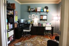 Sara's (from Our Best Bites) home office. Love the blue mixed with white, dark browns and random pops of cheery color. That blue, pale green, yellow, tan and white ... AKP branding.
