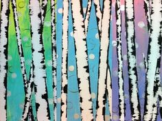 Easy Birch Tree Acrylic Painting Tutorial for Beginners | Paint Trees Using a Credit Card and Tape - YouTube
