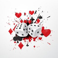 Abstract dice background with splatter and playing card symbols Poker Tattoo, Casino Party, Casino Theme, Gambling Machines, Play Online, Decoupage, Playing Cards, Games, Funny Wallpapers
