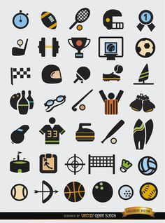 This is a set with many elements related to sports: uniforms, objects, balls, equipment, etc. You can use these in infographics, as icons for folders, menus of websites, articles, etc. High quality JPG included. Under Commons 4.0. Attribution License.