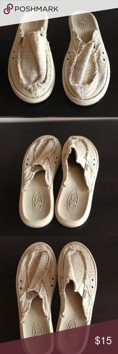 SANUK slide sandals SANUK slides , cloth, waterproof soles, comfy, washable, cute, Sanuk Shoes Sandals