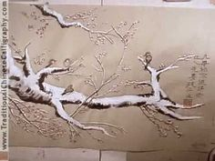 Snowfall. Snow & 4 Chinese Sparrows. Chinese Painting & Caligraphy.Inspired by O-shi Yang. - YouTube