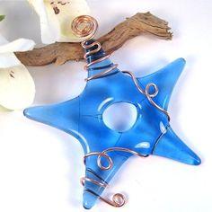 Fused Glass Star Suncatcher Ornament