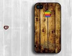 iphone 4 case iphone 4s case iphone 4 cover brown  old wood texture Iphone Logo design printing. $13.99, via Etsy.