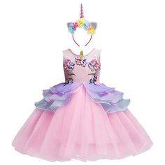 e3cbb5b99 Flower Girl Unicorn Dress Tutu Princess Cosplay Costumes for Kid Birthday  Party