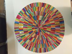 Angela finished collage circle in square made from recycled confectionery and chocolate wrappers. Rowntrees Fruit Pastilles, Collage Artists, Collage Artwork, Modern Art, Contemporary Art, Quality Street, Square Art, Confectionery, Stained Glass