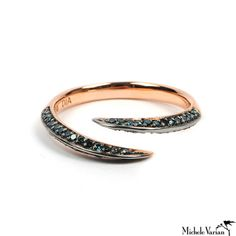Rose Gold Pave Blue Diamond Claw Ring