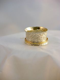 Spiral Patterned Sterling Silver Spinner Ring with by JRathDesigns, $52.00
