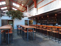 Southern Pacific Brewing ~ 620 Treat Ave, at St. Warehouse/Indoor beer garden w/ house-made brew and pub grub Pub Design, Brewery Design, Coffee Design, Brewery Interior, Cafe Concept, Brew Pub, Tap Room, Beer Bar, Tasting Room