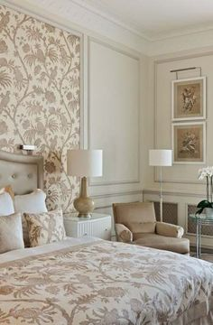 24 Super ideas for home wallpaper luxury Trendy Bedroom, Modern Bedroom, Bedroom Colors, Bedroom Decor, Pastel Bedroom, Beau Rivage, Neoclassical Interior, Home Wallpaper, Bedroom Wallpaper