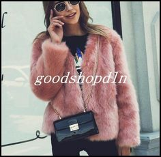 Euro Trendy Women Winter Faux Fox Fur Short Coat Furry Slim Outwear Jacket