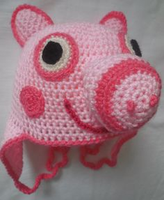 pig crochet hat pattern english and American by loopyloudesigns
