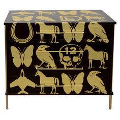 Ebonized walnut chest with hand applied DE gold leaf pattern (via @1stdibs)