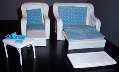 "Mattel Barbie "" Dream Furniture "" Set White Plastic Wicker 1983 w/ Accessories #Mattel"
